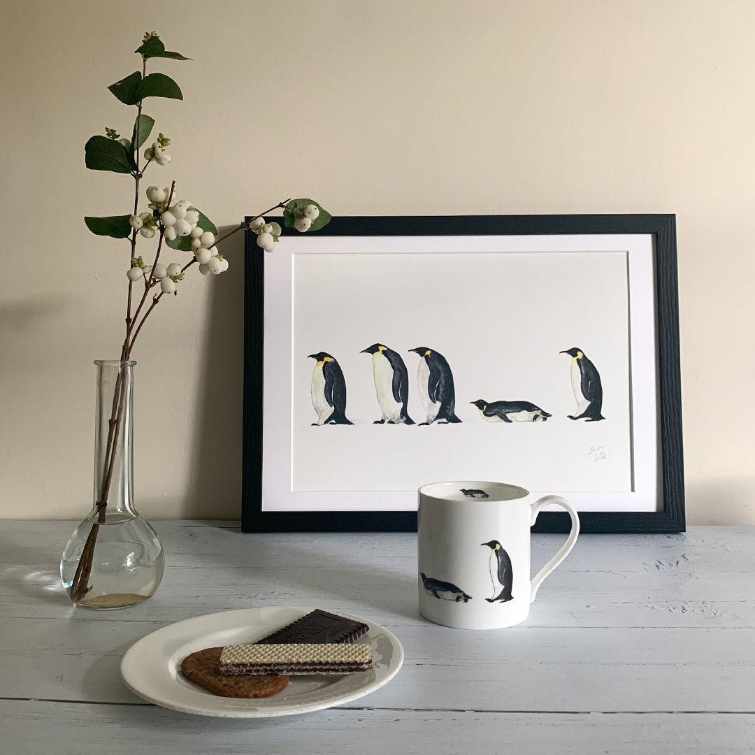 penguin line up print and mug post